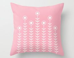 30 colours, Minimalist Flowers pillow cover, candy pink pillow case, Home decor, Cushion cover, Decorative pillow cover, abstract pillow