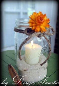 super simple mason jar candles for fall, crafts, mason jars, patio Beach Mason Jars, Pot Mason Diy, Fall Mason Jars, Mason Jar Crafts, Wedding Table, Fall Wedding, Rustic Wedding, Wedding Beach, Wedding Ideas