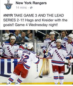 """""""What a finish in Pittsburgh! Rangers hold off Penguins furious comeback attempt, win NYR takes series lead. Rangers Hockey, New York Rangers, Ice Hockey, My Boys, Nhl, Pittsburgh, Penguins, Ronald Mcdonald, Baseball Cards"""