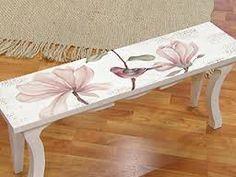 banco Cute Furniture, Decoupage Furniture, Hand Painted Furniture, Refurbished Furniture, Paint Furniture, Upcycled Furniture, Furniture Projects, Furniture Makeover, Vintage Furniture