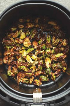 Crispy Air Fried Brussels Sprouts Seasoned With Olive Oil