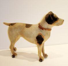 So Cute! German Paper Mache Pull Toy 1900s Jack Russel Terrier