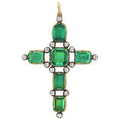 Antique Georgian Colombian Emerald Diamond Cross Provenance 1st Earl Camden | From a unique collection of vintage pendant necklaces at https://www.1stdibs.com/jewelry/necklaces/pendant-necklaces/