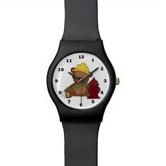 Fireman Bear cartoon wrist watch
