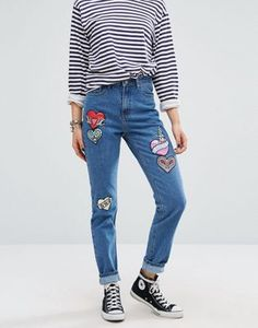 Glamorous Mom Jeans With Embroidered Heart Patches