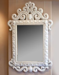 A FINE LARGE SCALE WHITE SHELL MIRROR : Nicholas Wells Antiques
