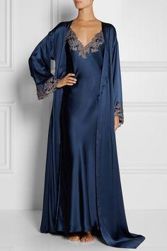 La Perla|Maison lace-trimmed silk-satin robe|NET-A-PORTER.COM