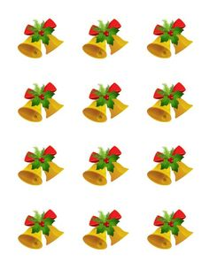 Golden Bells Christmas Edible Cupcake Toppers | My Party Helpers | http://mypartyhelpers.com/products/golden-bells-christmas-edible-cupcake-toppers