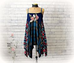 Boho Clothing Women's Plaid Sundress Lagenlook Dress Blue