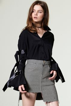 Doala D Ring Sleeve Belt Blouse Discover the latest fashion trends online at storets.com #Ruffle Off the Shoulder Blouse #Ruffle Skirt #Ruffle Sleeve Top