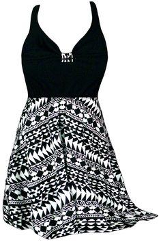 SALE! 2pc Pretty Black & White Tribal Print Plus Size Halter or Shoulder Strap 2pc Swimsuit/SwimDress 0x