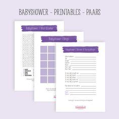 Gratis printbare spellen voor je babyshower. Kleur paars!