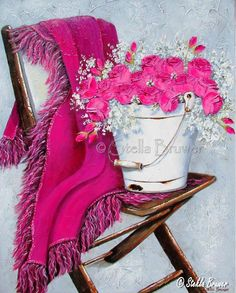 Stella Bruwer white enamel bucket on brown wooden camp chair Rosie pink throw and bright pink flowers Painting Lessons, Painting & Drawing, Stella Art, Creation Photo, 3d Wall Art, Still Life Art, Decoupage Paper, Pictures To Paint, Beautiful Paintings