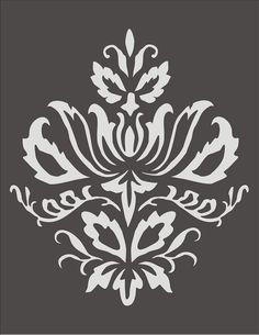 Wall Stencil Damask Design 3.2, flourish, wallpaper,floral, border, image is approx. 7.5 x 9 inches. $12.95, via Etsy.: