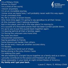My life growing up in the military. (The life of a military child. Military Child Month, Military Brat, Army Brat, Military Love, Military Spouse, Military Families, Military Quotes, Kids Poems, Quotes For Kids
