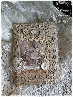 Discover thousands of images about Fabric Journal Vintage Crafts, Shabby Vintage, Vintage Sewing, Vintage Lace, Handmade Journals, Handmade Books, Vintage Journals, Fabric Art, Fabric Crafts