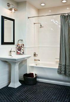 black + white tile bathroom. | pedestal sink
