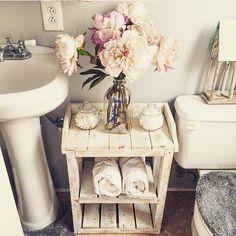 Shabby Chic Wood Bathroom Shelves. by HarvestTrailJourney on Etsy https://www.etsy.com/listing/231079879/shabby-chic-wood-bathroom-shelves
