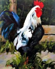 Don't Fence me in By Linda St. Clair Rooster Chicken Print
