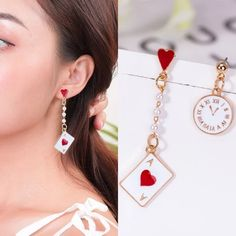 $9.73 | ZG New Geometric Poker Card Earrings Studs Enamel Asymmetric Clock Long Dangle Drop Women Simple Jewelry серьги женские Outfit Accessories FromTouchy Style | Free International Shipping. Little Girl Jewelry, Girls Jewelry, Gifts For Teens, Gifts For Women, Bff Gifts, Friendship Gifts, Ear Jewelry, Simple Jewelry, Meaningful Gifts
