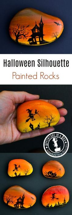 Decorate rocks with magical Halloween silhouettes drawn over a vibrant sunset sky! Autumn craft for rock painting enthusiasts.
