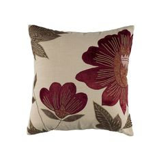 Rizzy Home Country Floral Throw Pillow, Red