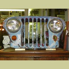 1940-50's VINTAGE FLAT FRONT WILLYS OVERLAND JEEP GRILL WITH HEAD LIGHTS : Architectural Artifacts - Toledo, OH