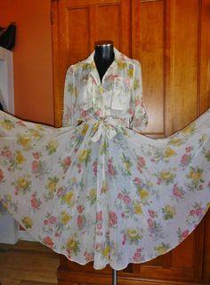 Vtg 70s GAUZE Sheer Floral Print Bohemian FLOWING FULL Skirt Blouson DRESS ! £38.00 (10B)