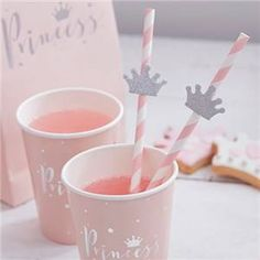 Princess Party Pink Crown Straws - Girls Birthday Party - Pretty in Pink - Pink Party - Princess Crown - Baby Shower tableware Disney Party Princess Party Supplies, Princess Tea Party, Princess Theme, Baby Shower Princess, Pink Princess, Princess Birthday, Princess Gifts, 1st Birthday Parties, Birthday Party Decorations