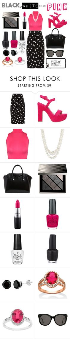"""""""black, white and pink"""" by nazia-shazia ❤ liked on Polyvore featuring Andrea Marques, Paul Andrew, WearAll, Anne Klein, Givenchy, Burberry, MAC Cosmetics, OPI, Palm Beach Jewelry and Gentle Monster"""