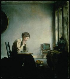 Girl Reading (1909). Edmund Charles Tarbell (American Impressionist, 1862–1938). Oil on canvas.