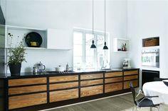 Modern Kitchen Cabinets, Rustic Kitchen, Kitchen Decor, Kitchen Dining, Kitchen Ideas, Masculine Interior, Schick, Buffet, Home Kitchens