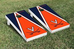 Virginia UVA Cavaliers Wahoos Cornhole Game Set Triangle Version