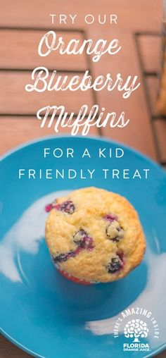In a hurry? Florida OJ Blueberry Muffins are easy to make and hard to resist. Less than 30 minutes - prepare them in advance for quick and easy grab-n-go breakfast options all week. #AmazingInside