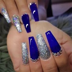 25 Long Blue Coffin Nail Designs You Will Want to Try - Short acrylic nails coffin - abbey Long Blue Coffin Nail Designs You Will Want to Try - Short acrylic nails coffin - One of the most popular thi. Blue Acrylic Nails Glitter, Blue And Silver Nails, Dark Blue Nails, Blue Coffin Nails, Acrylic Nails Coffin Short, Best Acrylic Nails, Purple Nails, Blue Diamond Nails, Cobalt Blue Nails