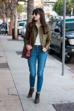d0a6efc4d5 Jeans and a Teacup wearing Olive Leather Jacket and Everlane Denim