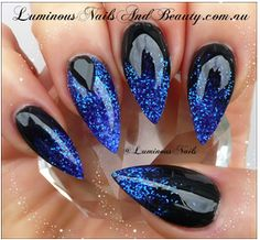 Black with Blue Glitter Gradient