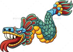 Cartoon Quetzalcoatl by memoangeles Cartoon Quetzalcoatl. Vector clip art illustration with simple gradients. All in a single layer. EPS10 file included.