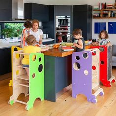 Tour d'Observation Multi-Usages – Montessori Family Informations About Tour d'O… - Modern Folding Furniture, Recycled Furniture, Baby Furniture, Learning Tower, Kids Learning, Baby Decor, Kids Decor, Tour D Observation Montessori, Casa Patio