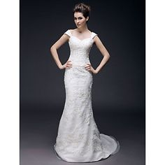 Trumpet/ Mermaid Off-the-shoulder Sweep/ Brush Train Organza Wedding Dress – USD $ 279.99