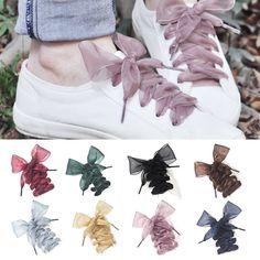 1 Pair NWOT Baby Pink Fashion Flat Silky Satin Ribbon Shoe Laces