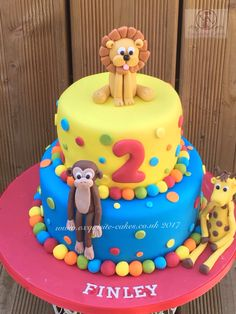 Zoo animal cake for a 2nd birthday