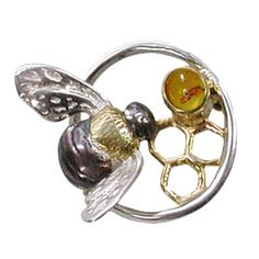 Silver and amber bumble-bee brooch (objetsdartjewellery.com)