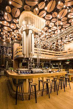 Manufaktura Coffee Shop, Bucharest, Romania photo on Sunsurfer Wood Resin Table, Bucharest Romania, Coffee Shop Design, City Break, Brewery, Transylvania Romania, Work Trip, Wine Bars, Orient Express