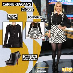Top: Karen Millen Black Shirt with White Collar - $153 Skirt: Forever 21 Grid Print Overall Skirt - $20 Boots: Christian Louboutin Huguette Boots - $1,095 Overall Skirt, White Collar, Karen Millen, Foxes, Get The Look, Carrie, Carry On, Grid, Christian Louboutin