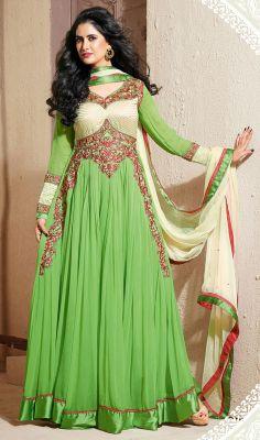 Fancy Green Georgette Long Length Anarkali Suit #Cheap-SalwarKameez #Indianclothing-salwarkameez