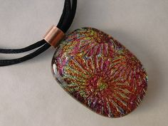 SOLD.....Fused Dichroic Glass Textured Pendant Golden by PLJohnsonGlassArt, $26.00