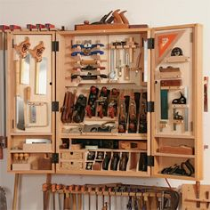 Tool storage, use an old bathroom or kitchen cabinet? People give them away on craigslist all the time