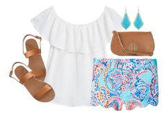 """{ summer in turquoise }"" by callingmybluff ❤ liked on Polyvore featuring MANGO, Kendra Scott, Lilly Pulitzer, Tory Burch and Ancient Greek Sandals"