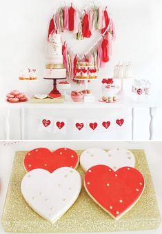 Pink, Red, & Gold Valentines Day Dessert Table